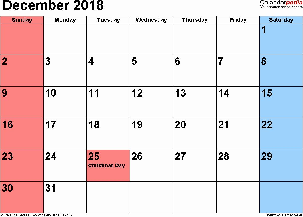 december 2018 printable calendar page december 2018 calendars for word excel pdf