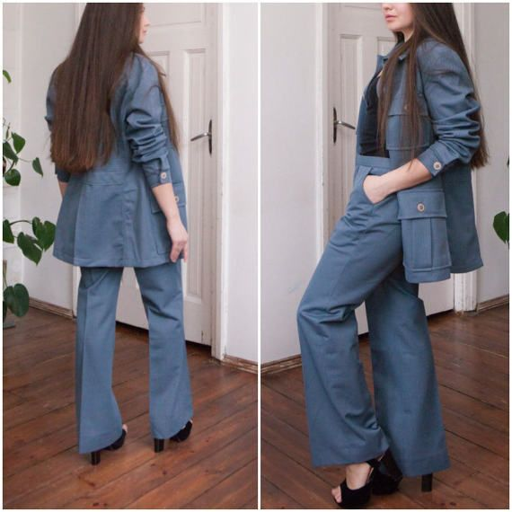 70s Matching Two Piece Suit Blue Gray Blazer Pants Retro Twin Set Womens Small W30 L30 Pleated Straight Leg Pants Collared Button Up Jacket 7XEGZ9