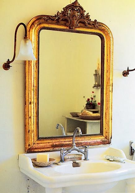 Antique Gold Gilded Mantel Mirror