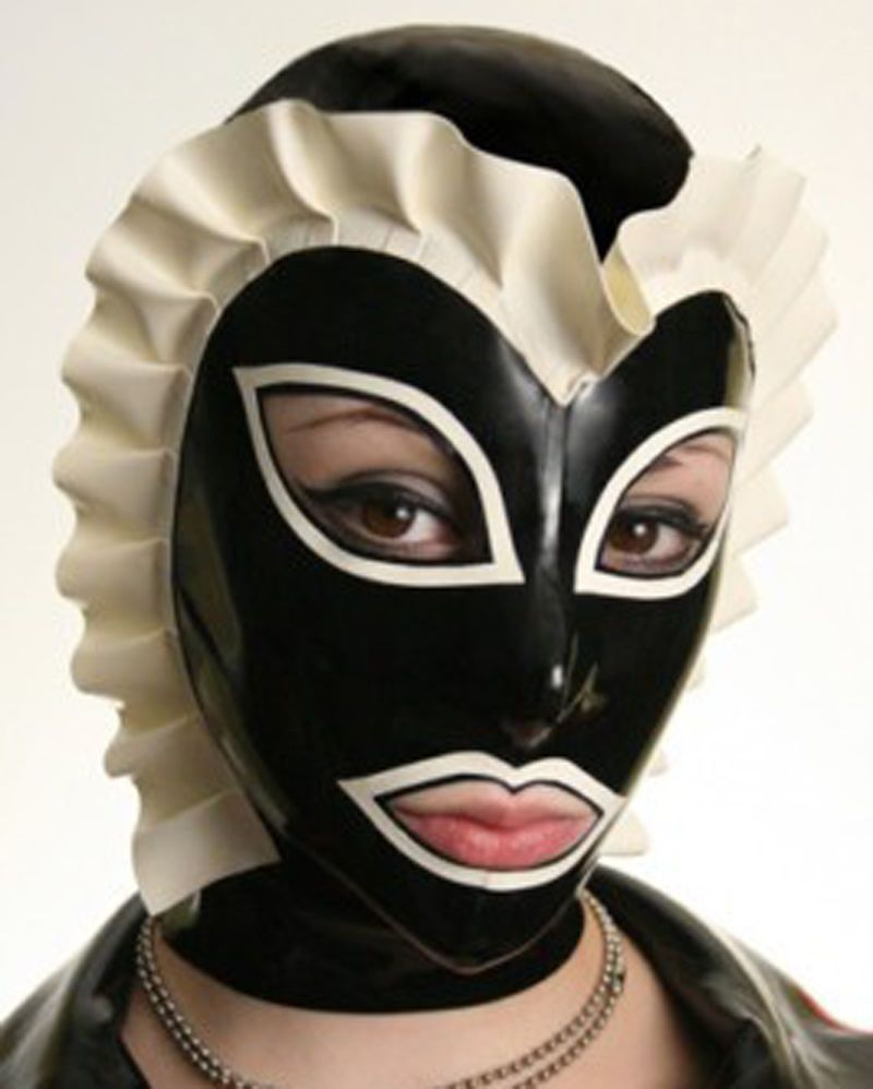 Rubber Latex Mask Hood with Back Zipper Party Wear Costumes Gummi 0.4mm