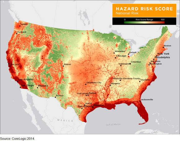 Insurance Companies Us Natural Disaster Risk Map Usa Excluding Alaska Hawaii