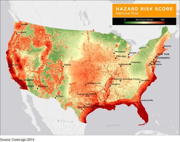 insurance companies us natural disaster risk map usa excluding alaska hawaii