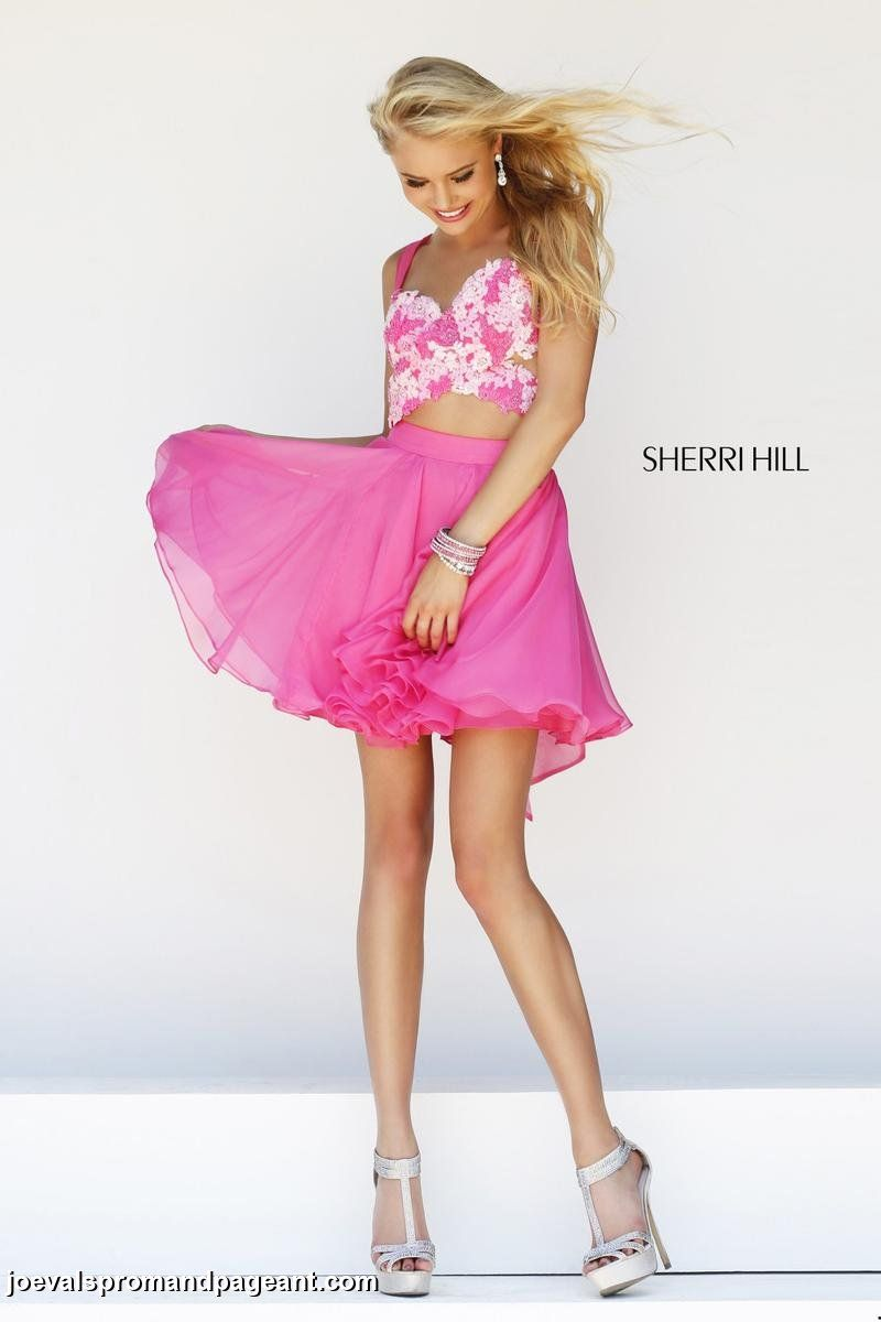 Cutout hot pink short chiffon prom dress with embroidered floral ...