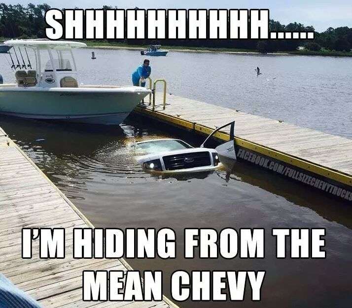 Ford Hiding From The Chevy Ford Jokes Funny Car Memes Car Jokes