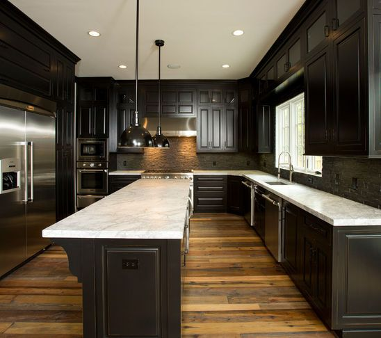 Reclaimed wood floors w dark cabinets home sweet home for Kitchen cabinets with dark floors