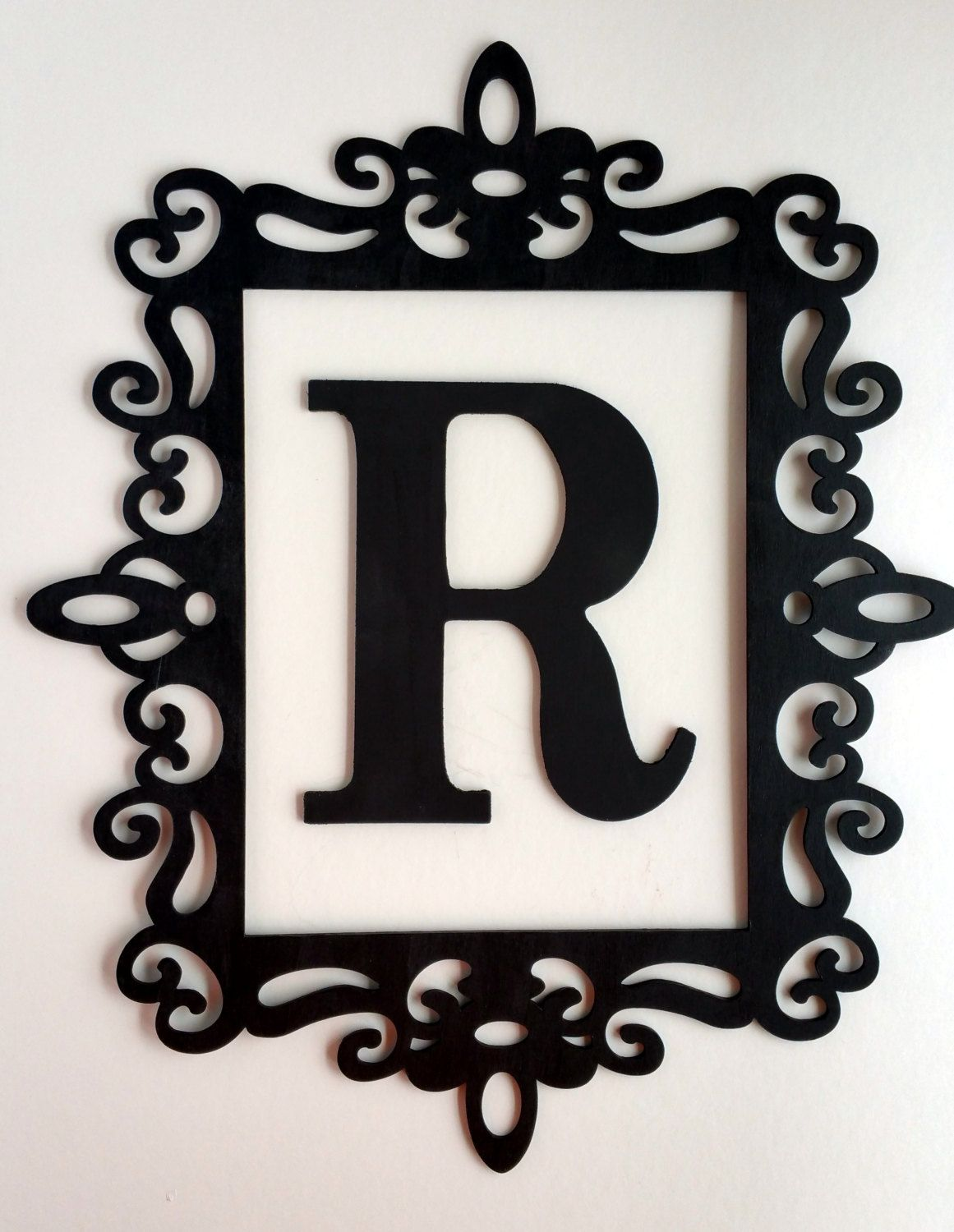 Black Ornate Frame   Large Letter Wall Decor   Framed Initial   Laser Cut  Frame