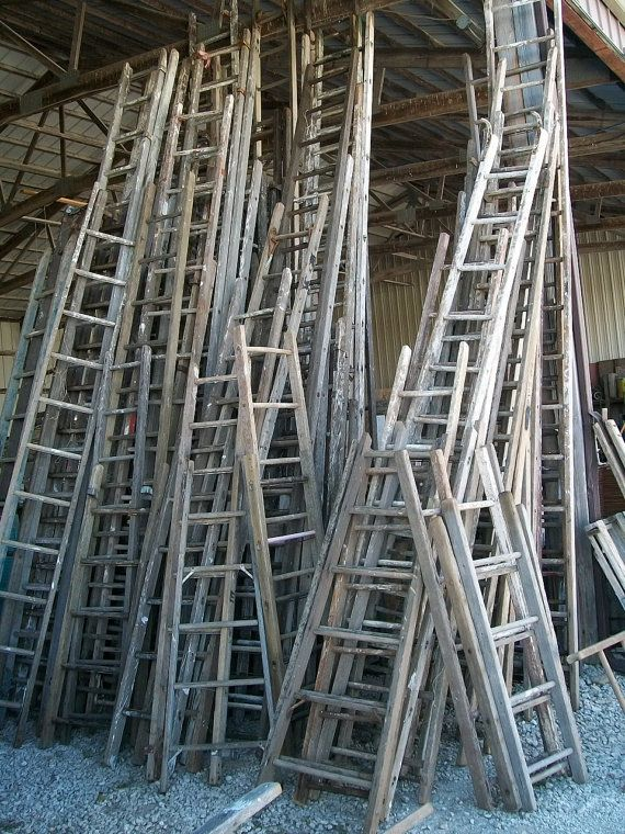 Antique Wood Ladder With 13 Rungs 156 Long Choose A Vintage Surface Or Pick A Color How To Antique Wood Antique Ladder Wood Ladder