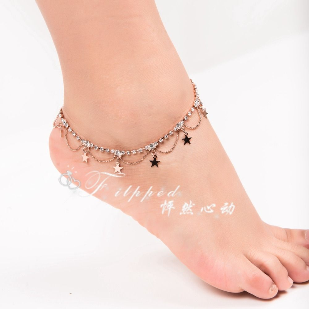 women anklet bracelets draped pin layered and jewelry anklets link new gold fashion for foot chain parties tomtosh