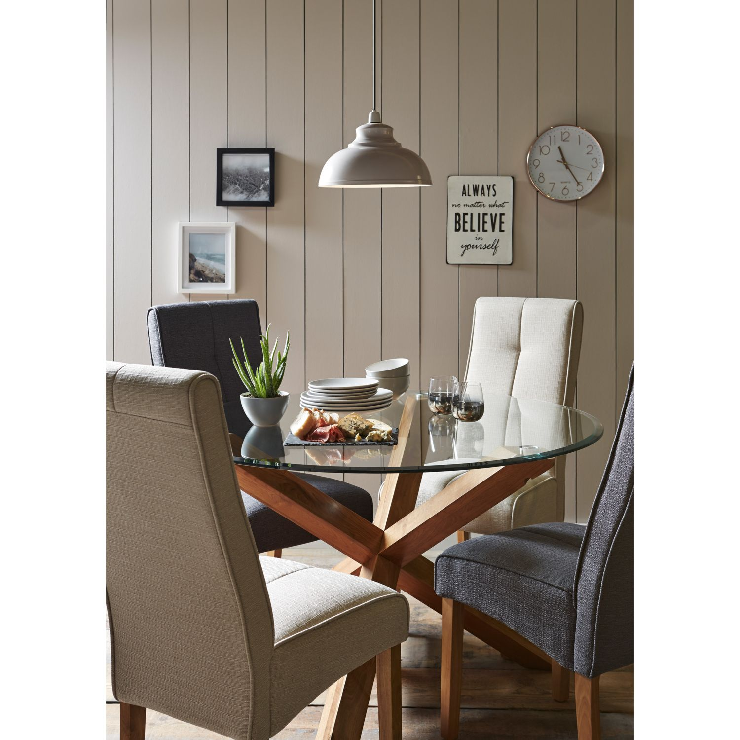 Miso Solid Oak And Glass Dining Table Hallway Pinterest