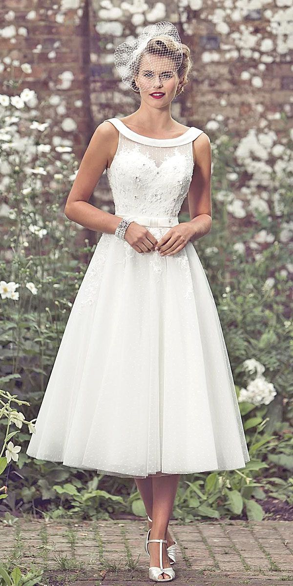 Tea Length Off Shoulder Wedding Dresses Via True Bride