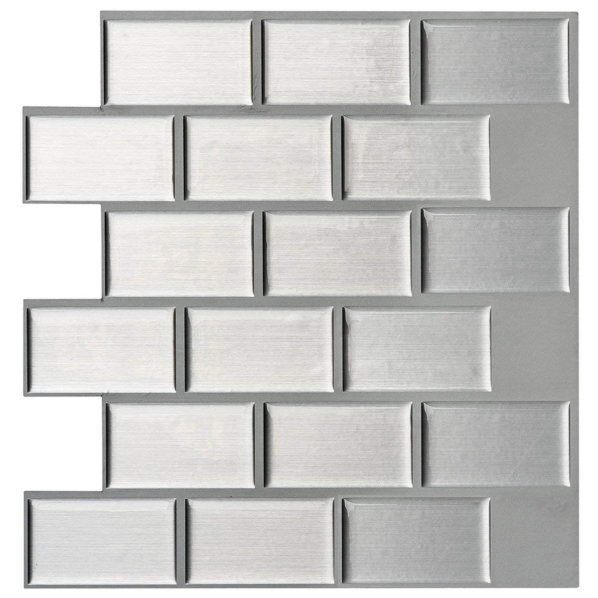 Art3d Silver Metal 12 In X 12 In Peel And Stick Wall Tile Backsplash 6 Pack Walmart Com In 2020 Decorative Wall Tiles Instant Mosaic Wall Tiles
