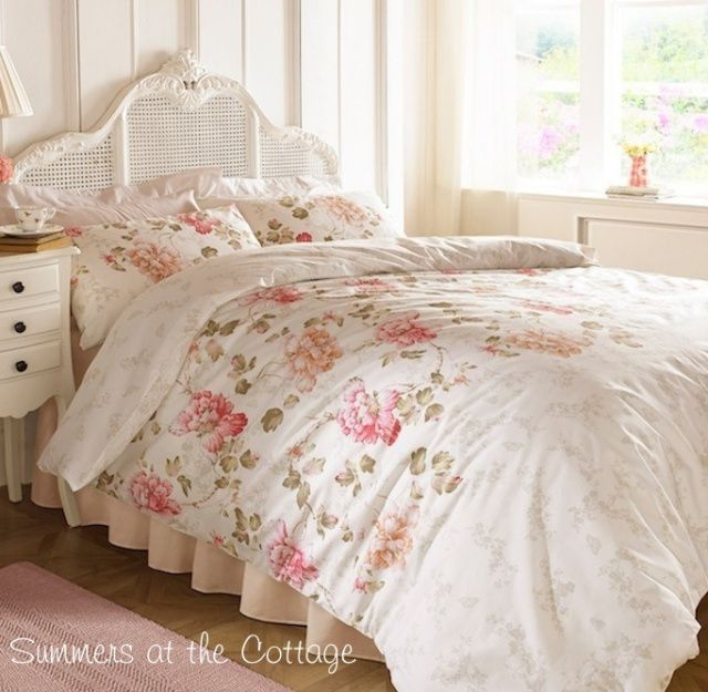 Shabby Country Cottage Chic French Market Floral Queen Duvet Set