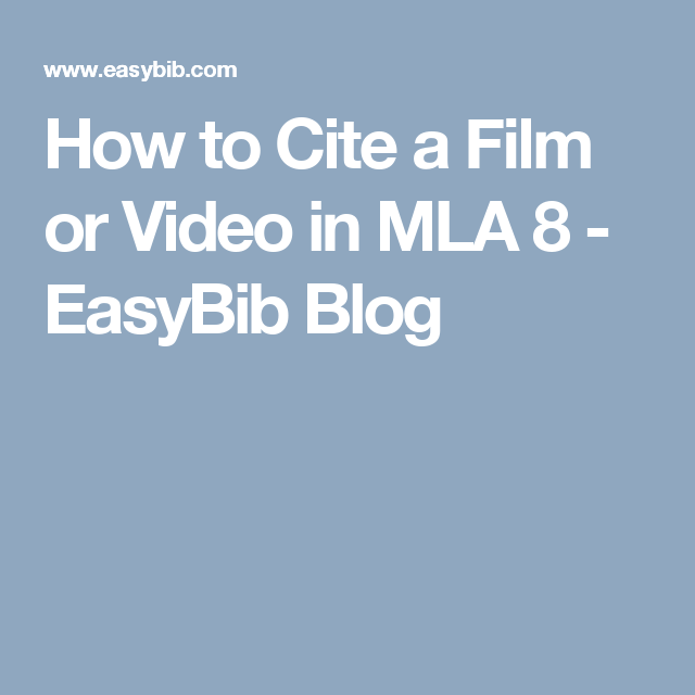how to cite a movie mla 8