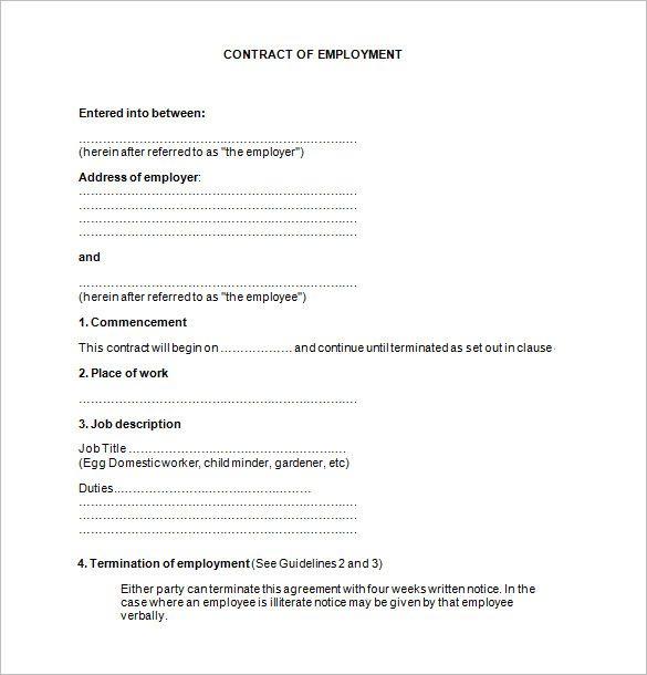 11+ Job Contract Templates \u2013 Free Word, PDF Documents Download