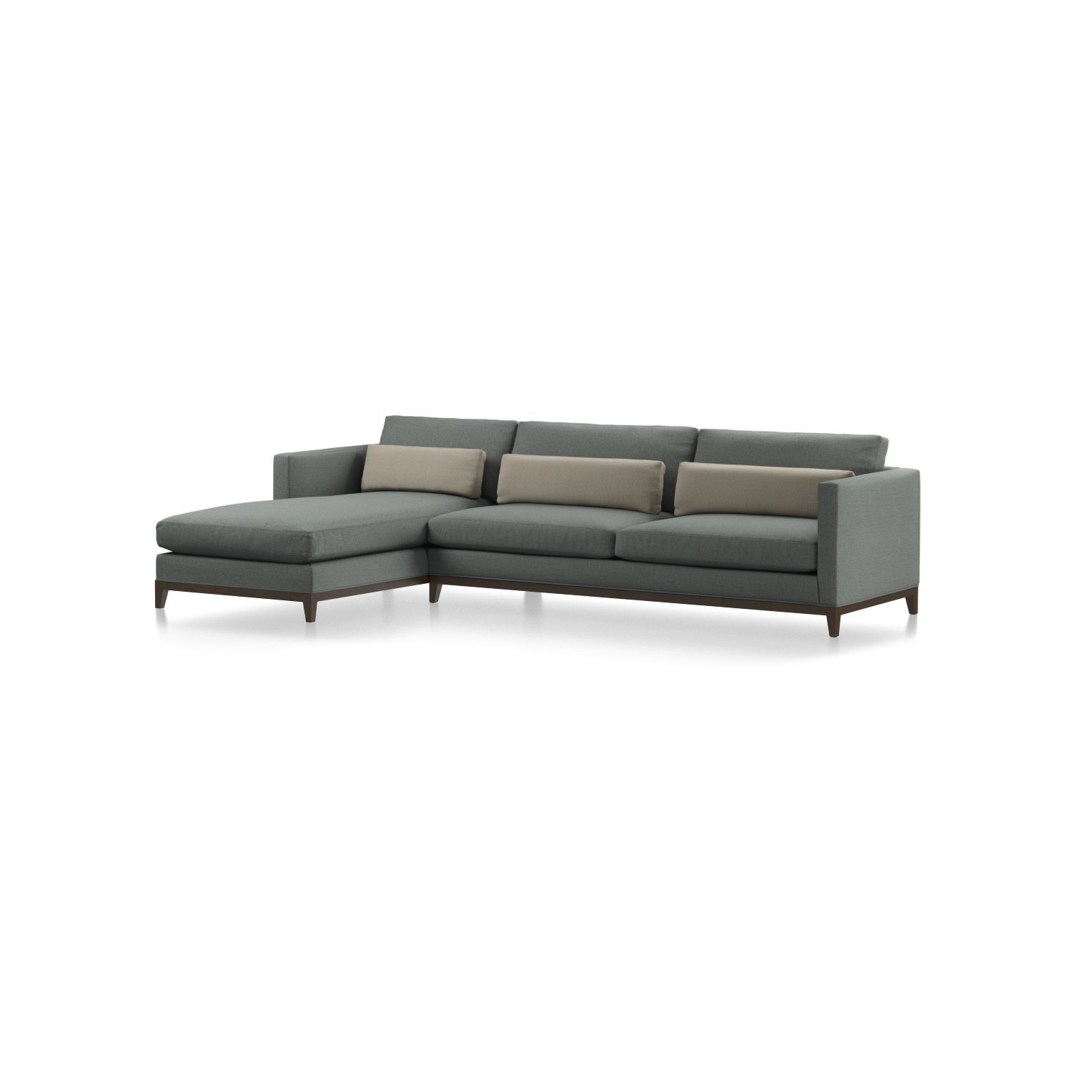 Shop taraval 2 piece left arm chaise sectional with oak base even the exposed solid oak base takes on a relaxed attitude with a warm pecan finish
