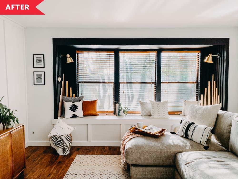 Before And After 200 Made This Living Room Window Seat A Dramatic Focal Point Living Room Windows Window Seat Luxe Living Room