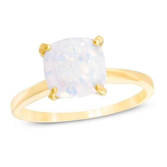 Zales 8.0mm Heart-Shaped Lab-Created Opal Solitaire Ring in 10K Gold jR7zpiITRb