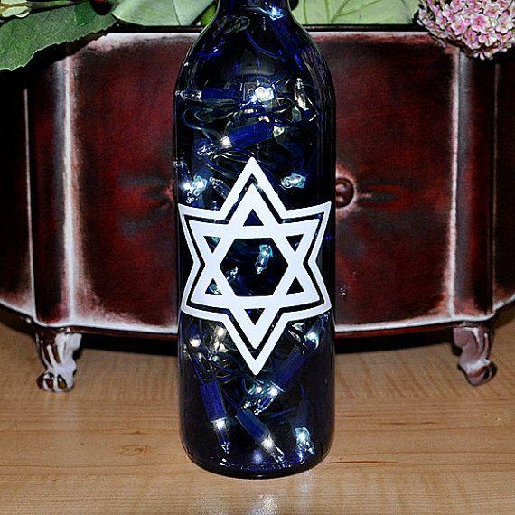 Star of David Wine Bottle Lights Bar Mitzva Gift Hanukkah Gift by TipsyGLOWs, $18.00