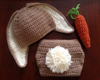 0e0bf3f2b Crochet Bunny Hat and Diaper Cover Carrot Set Floppy Eared Easter ...