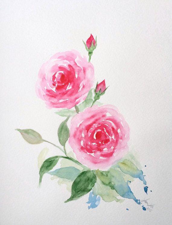 original watercolor roses pink