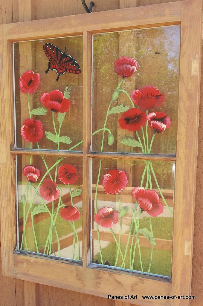 Antique Window Painging Ideas Hand Painted Window Panes