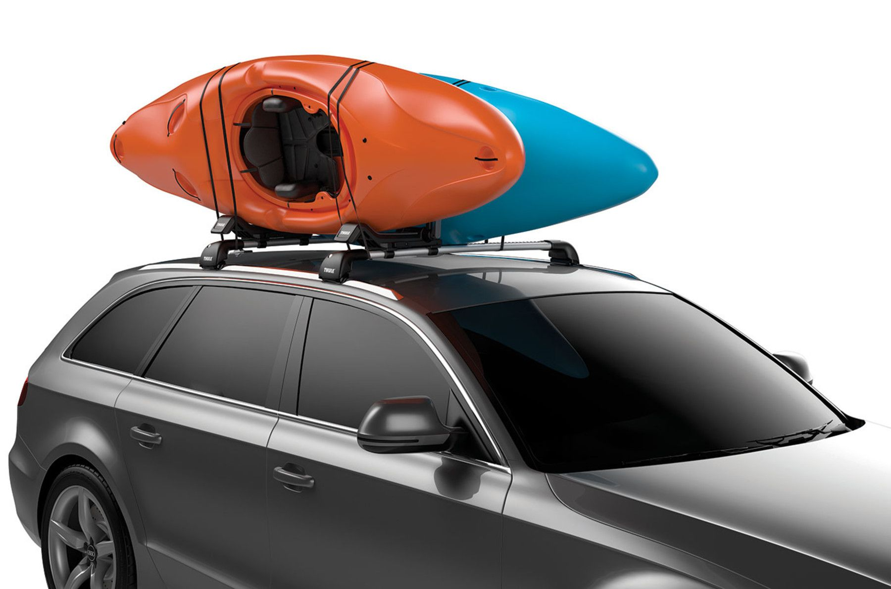 Car Roof Rack For Two Kayaks In 2020 Kayak Roof Rack Thule Roof Rack Car Roof Racks