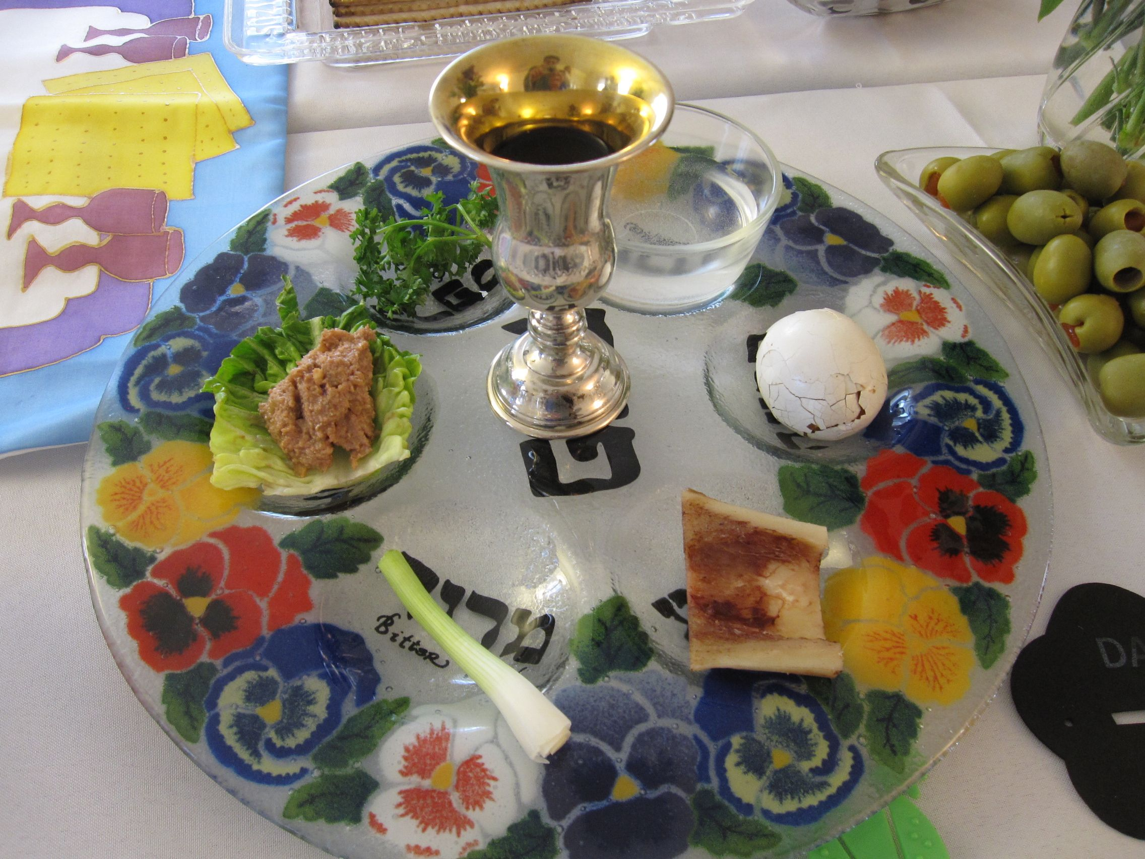 Here Is The Traditional Seder Plate That Sits In The