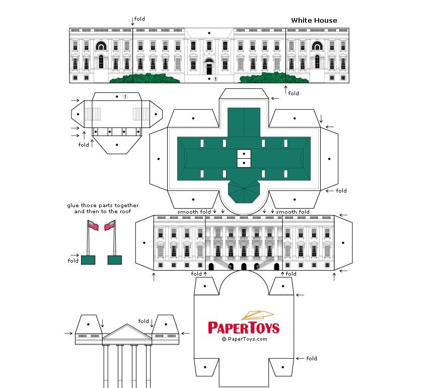 The White House Printable Paper Model | Presidents\' Day | Pinterest ...