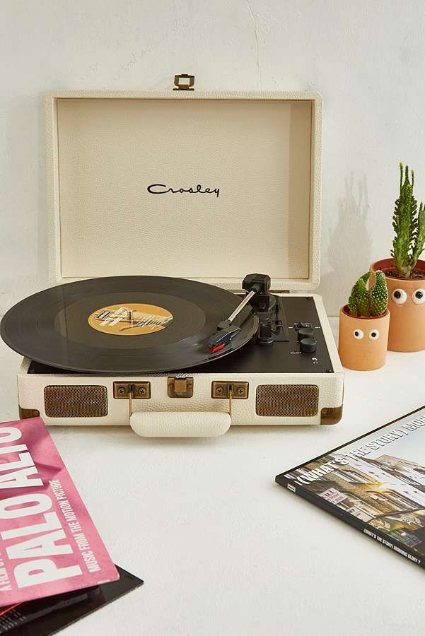 Slide View 1 Crosley Cruiser Pebbled Cream Vinyl Record Player Vinyl Record Player Record Player Urban Outfitters Record Player