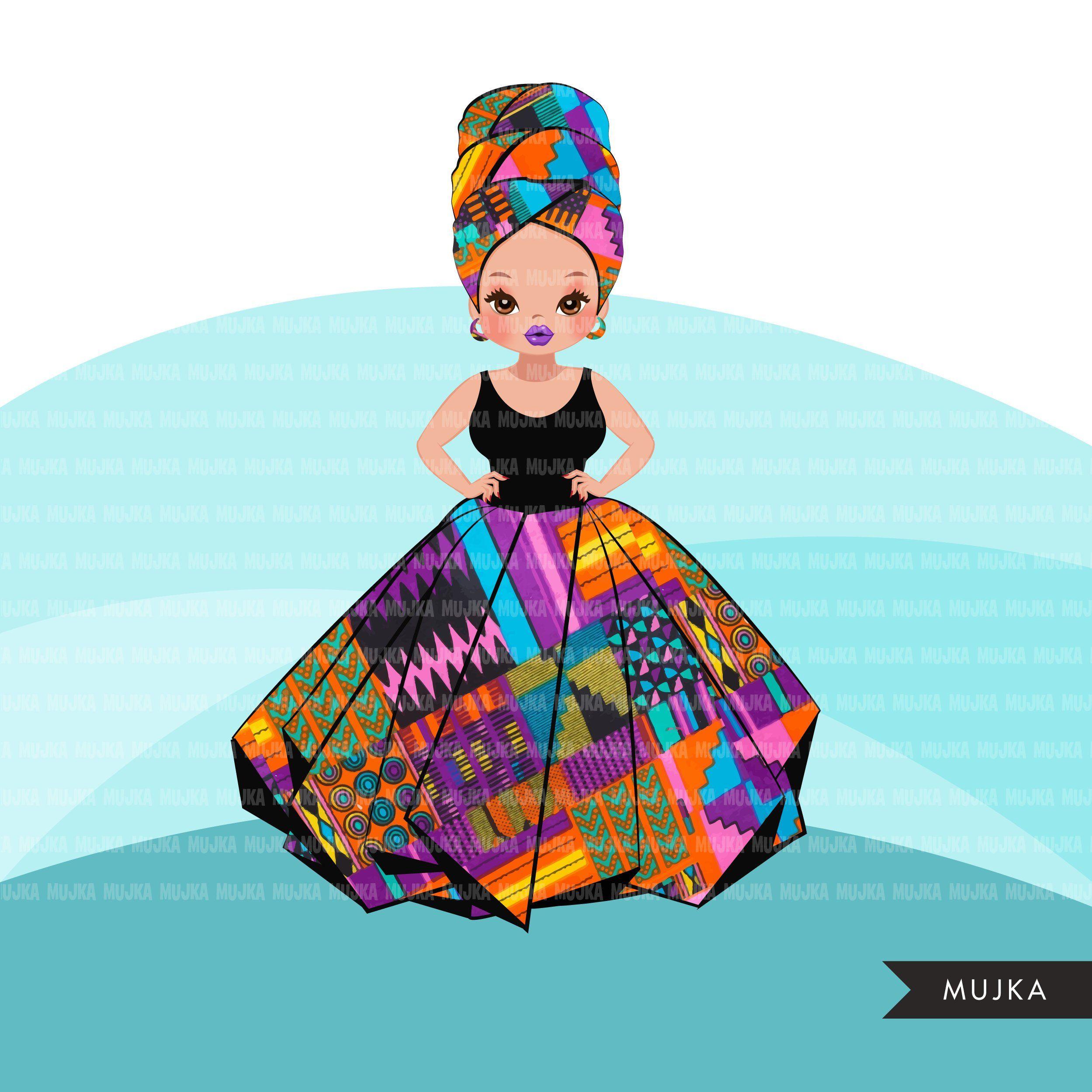 Black Woman Clipart Avatar Ankara Kente African Print Tribal Head Wrap And Skirt Fashion Graphics Girl Clip Art Png Girls Clips African Print African Princess