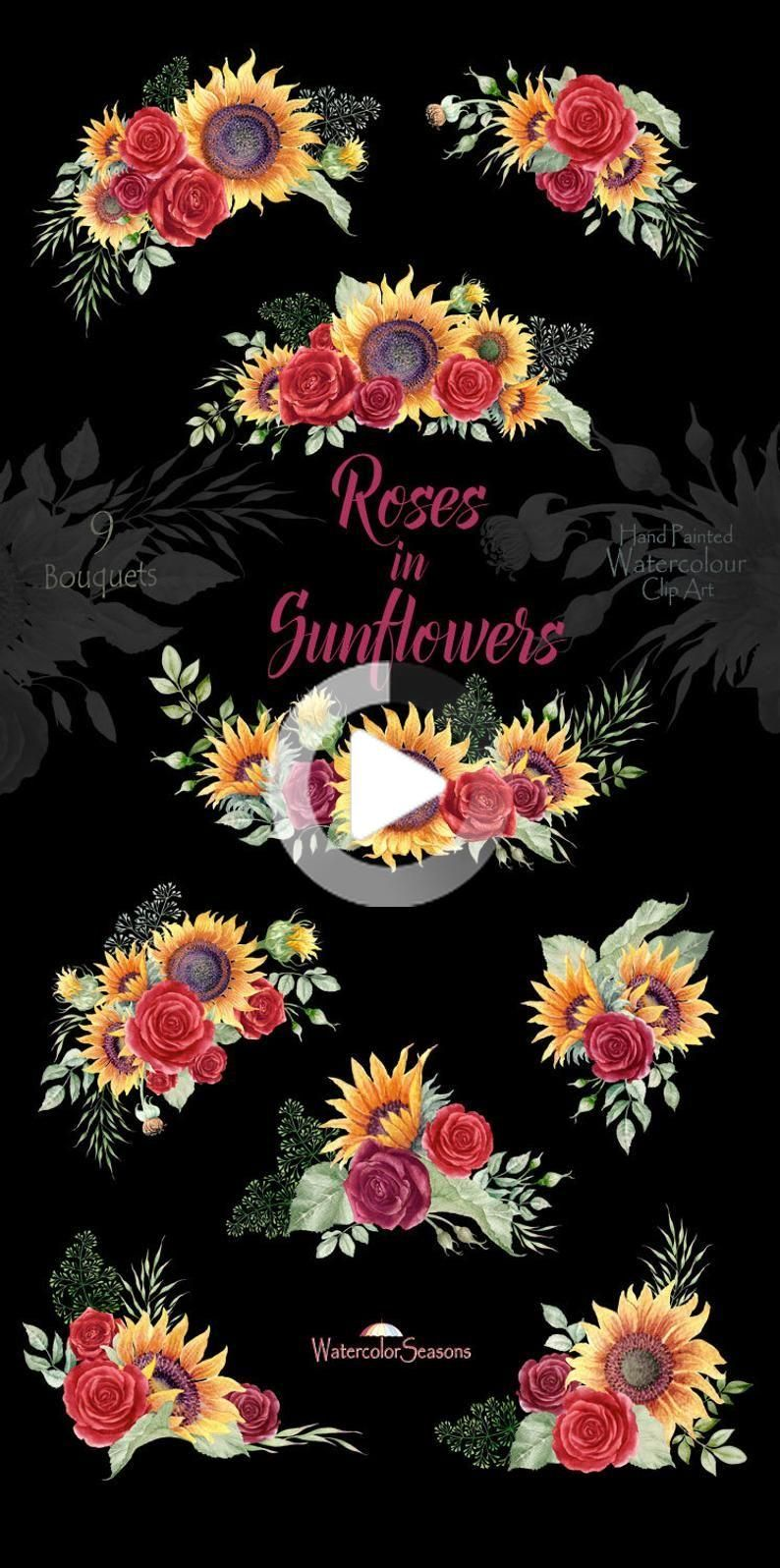 Roses in Sunflowers Watercolor bouquets - Autumn clipart ...