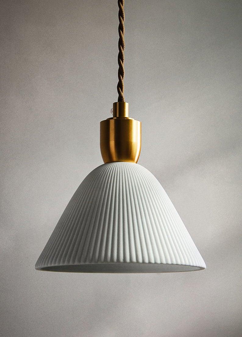 Pendant Light Ceramic Shade Brass Ceiling Light Fixture Etsy In 2020 Brass Ceiling Light Glass Pendant Light Pendant Light