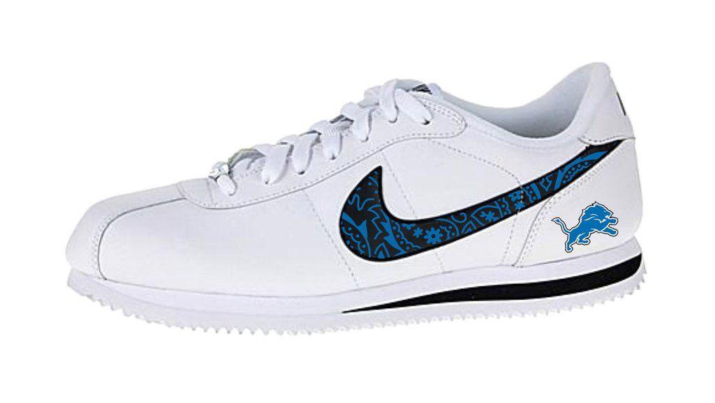 Bandana Fever Bandana Detroit Lions Print Custom White Black Nike Cortez Shoes Nike Cortez Shoes Cortez Shoes Custom Nike Shoes