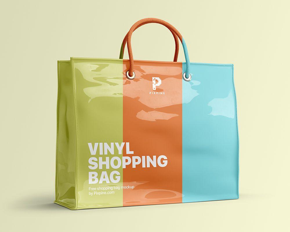 Download Vinyl Shopping Bag Free Mockup Bag Mockup Free Bag Bags