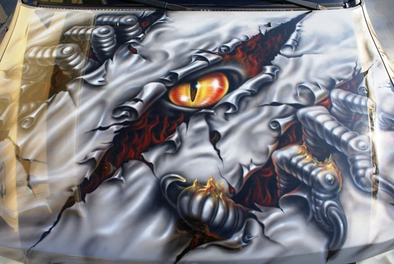 Torn Open Or Sliced Sheet Metal Cars Stuff Airbrush Art