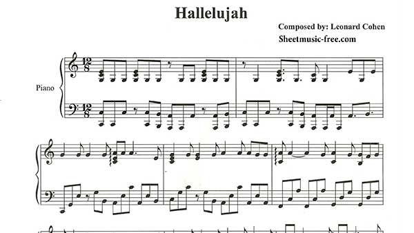 Hallelujah Piano Sheet Music Leonard Cohen Hobby