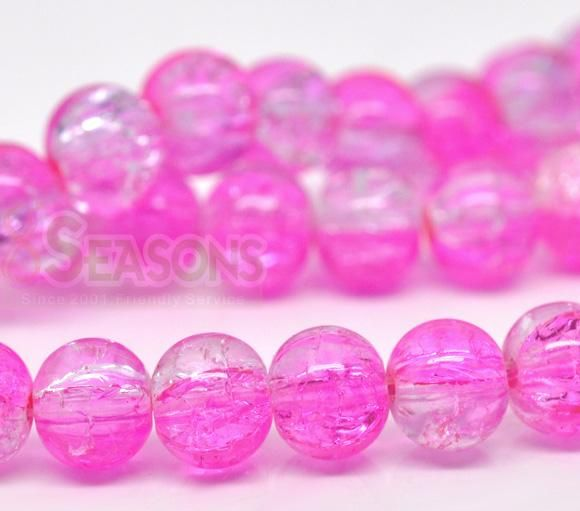 Wholesale 5Strands Pink & Clear Crackle Glass Round Beads 8mm - $1.77