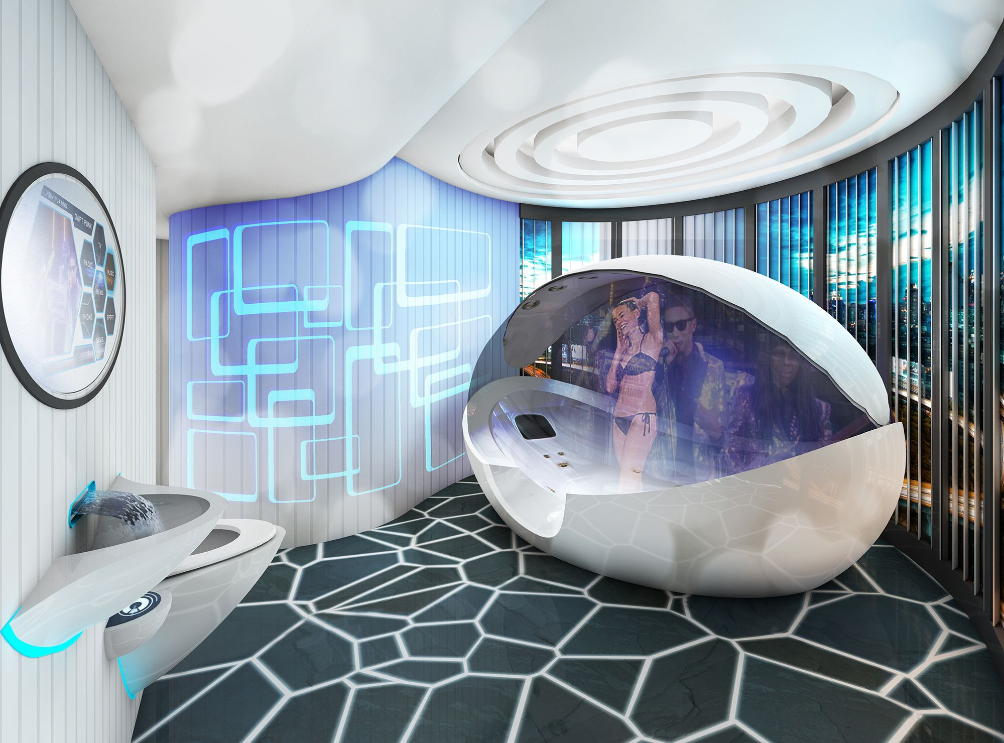 UkBathrooms Concept Image For The Bathroom Of Future A Combined Bath And Shower With Multi Media Mirror