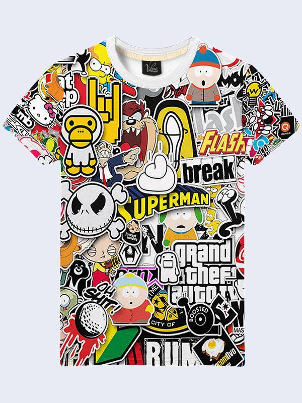 80e0f723 Mens Sticker Bombing Bomb Hellaflush JDM Short Sleeve Pattern T-Shirt Size S-2XL  #Vilno #GraphicTee