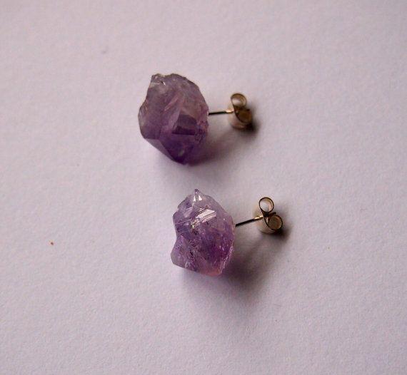 raw rough amethyst stone silver steel earrings studs