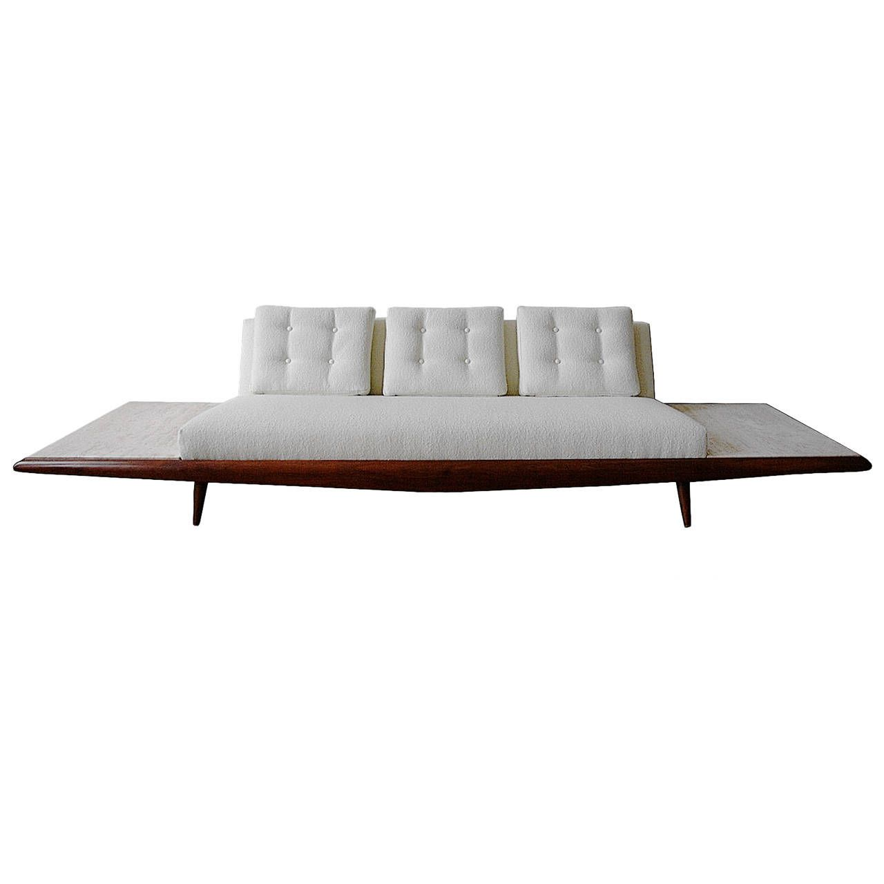 Adrian Pearsall Sofa with Travertine End Table Inserts