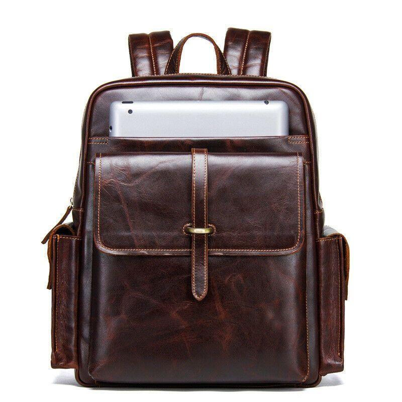 NEW Mens Genuine Leather Vintage Backpack Rucksack Messenger Laptop Bag Satchel