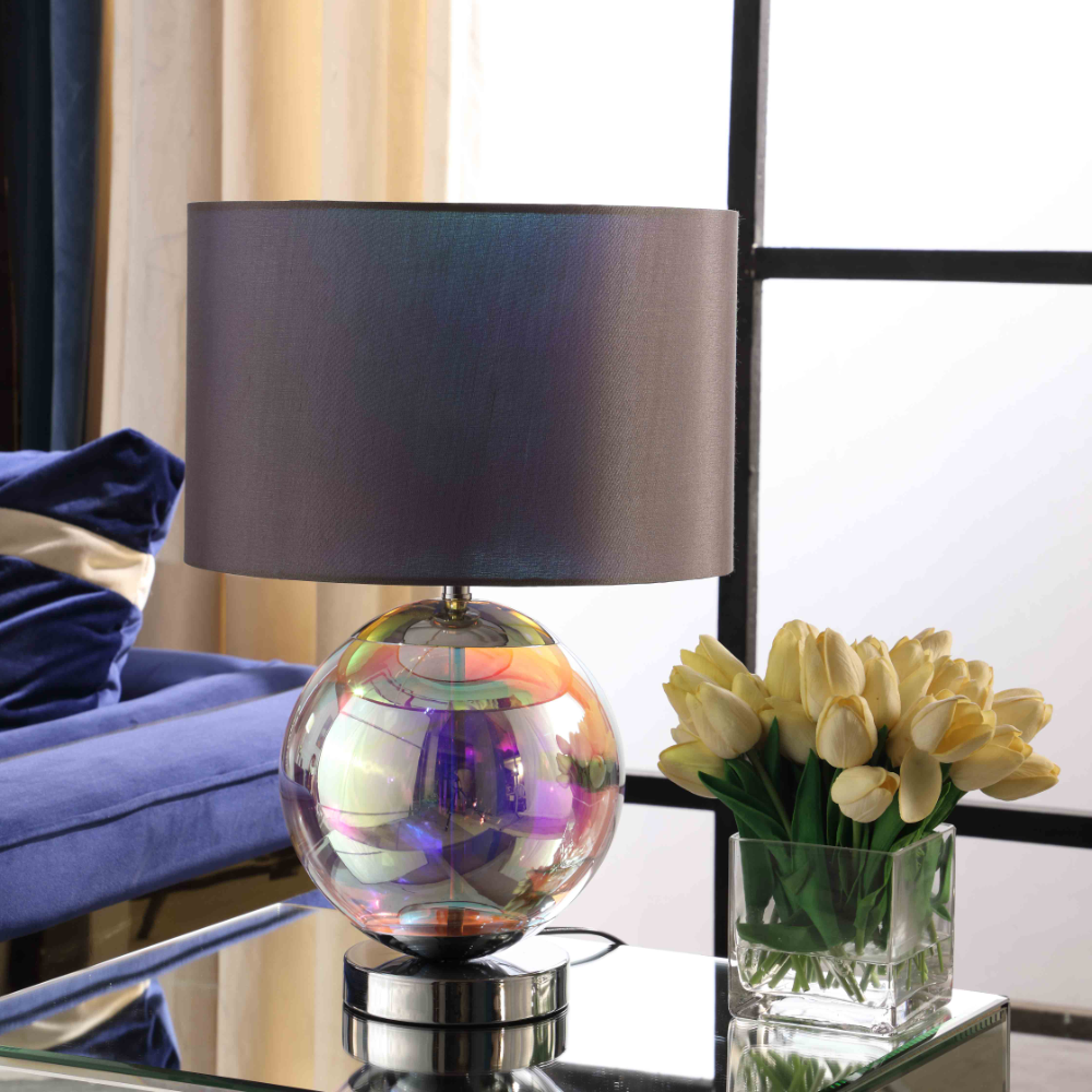 Home Glass table lamp, Chrome table lamp, Table lamp