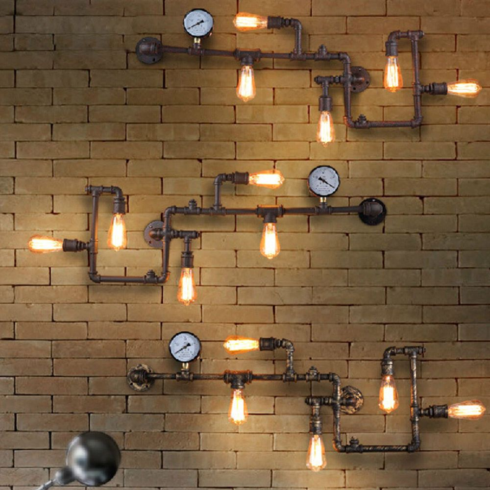 Vintage steampunk pipe bar wall lamp industrial rustic loft wall vintage steampunk pipe bar wall lamp industrial rustic loft wall fixture fitting in home garden arubaitofo Choice Image