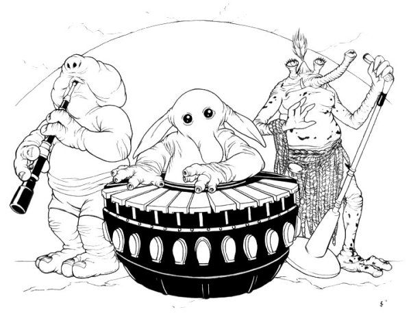 Rebo Band Ink Drawing by Jeff Confer Artwork of Jabba