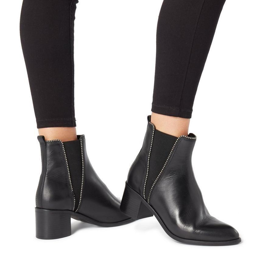 PORTOBELLO - Studded Block Heel Ankle