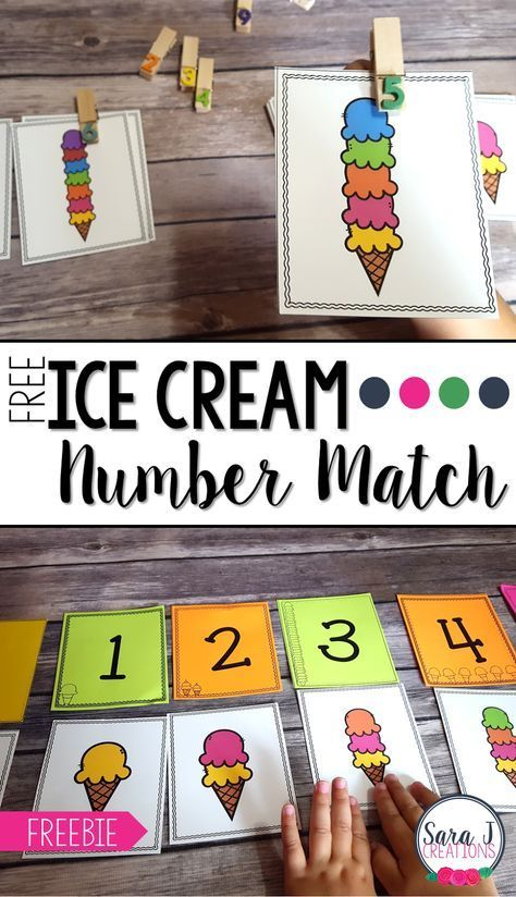 Ice Cream Number Match is part of Numbers preschool, Summer preschool, Math activities preschool, Preschool math, Preschool kindergarten, Preschool - Free ice cream themed number match is the perfect counting practice for numbers 110  Ideal for preschool and kindergarten!