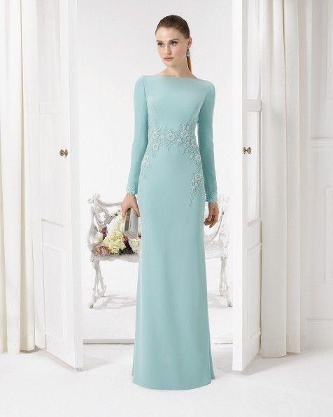 Vestido de crepe y pedreria. Color verde,cobalto,humo,plata,azul ...