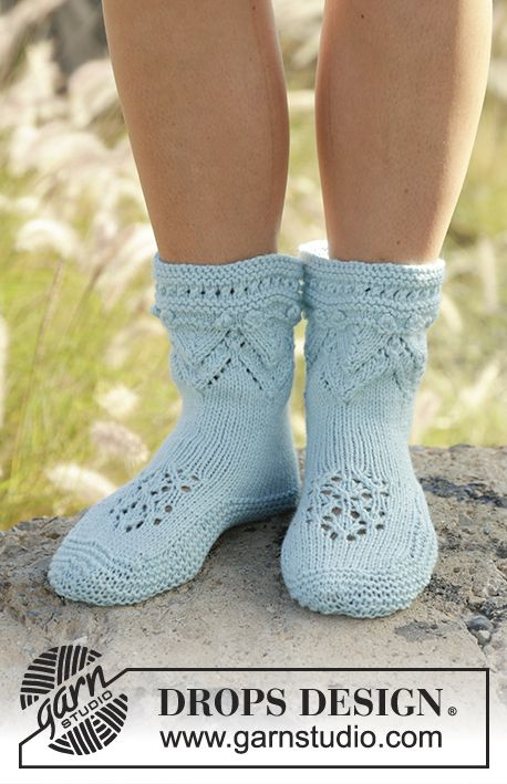 Knitted slippers with lace pattern in DROPS Nepal. Sizes 35 - 42 ...