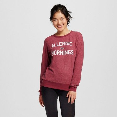 Women's Allergic to Mornings Brushed Cozy Pullover Sweatshirt Burgundy - Grayson Threads (Juniors') : Target